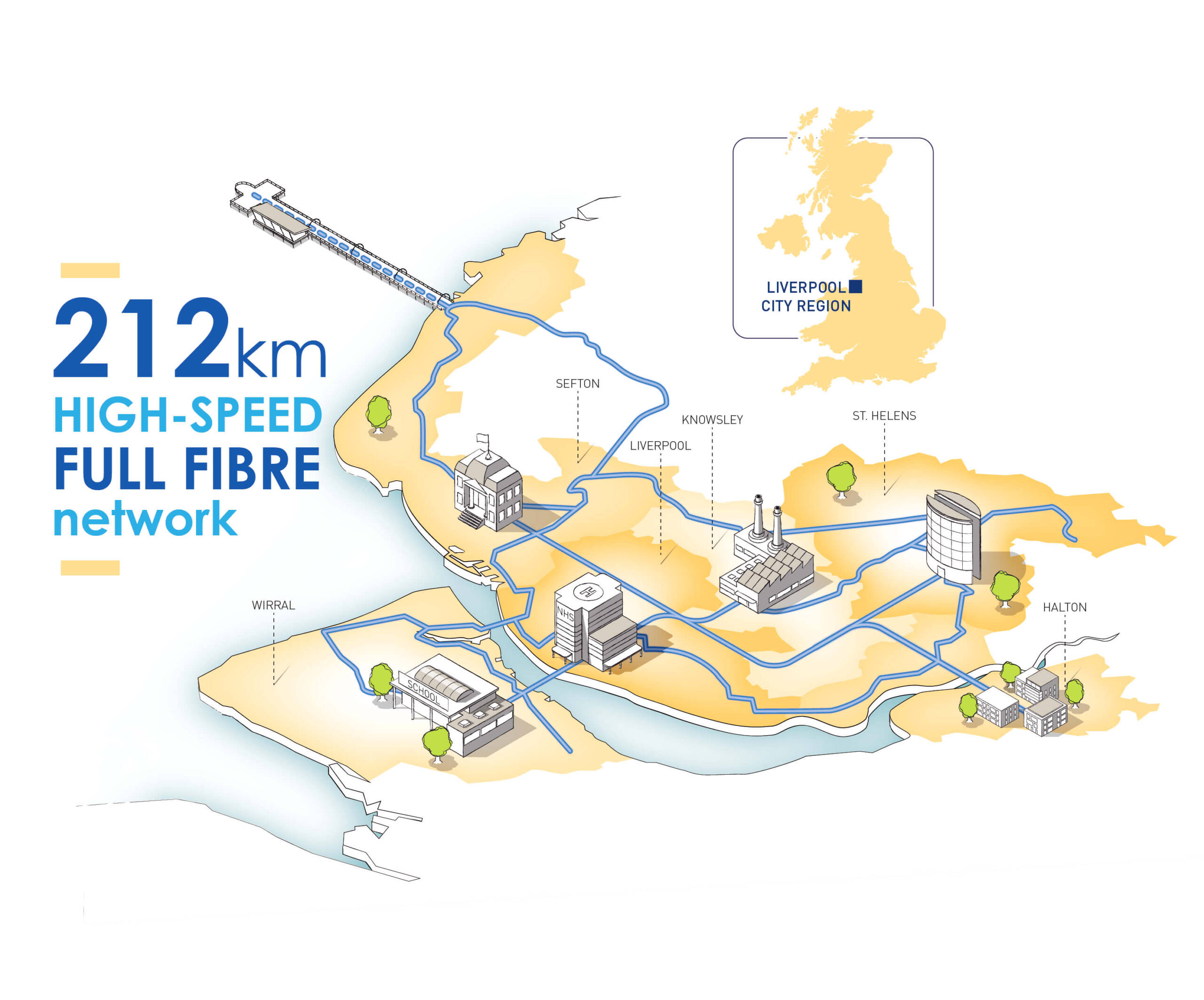 A map that illustrates the area in which the 212km of high-speed fibre will be installed
