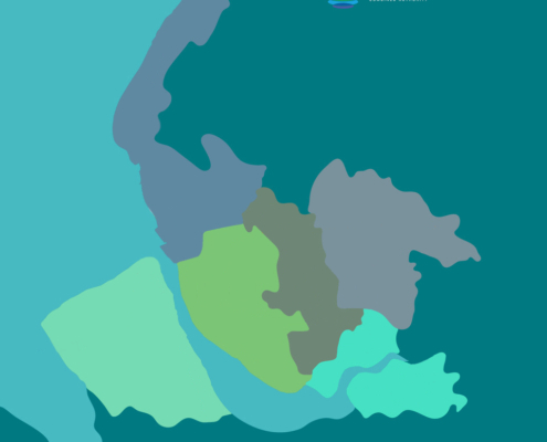 Map of the Liverpool City Region coloured by local authority areas