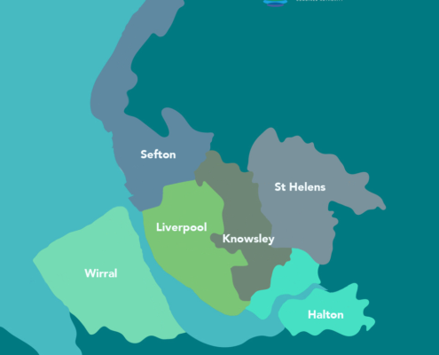 Map of Liverpool City Region coloured by local authority areas