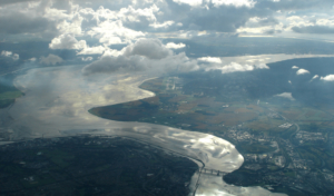 aerial view of river mersey